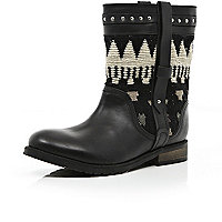 Black aztec tapestry panel biker boots