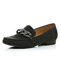 Black chain front loafers