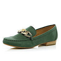 Dark green chain front loafers