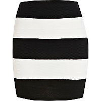 Black and white stripe textured mini skirt