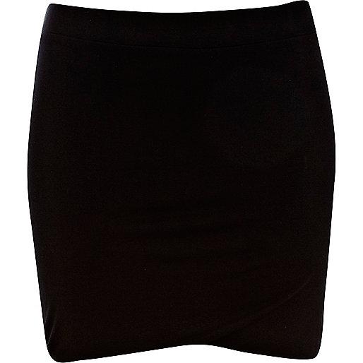 Black double layer mini tube skirt