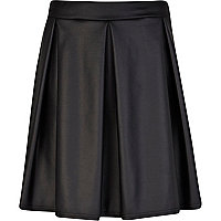 Black wet look pleated skater skirt
