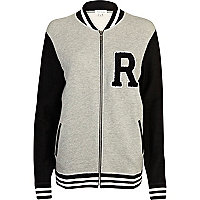 Grey R print baseball jacket