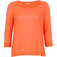 Coral fine knit open back top