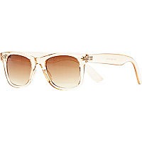 Light orange clear plastic retro sunglasses