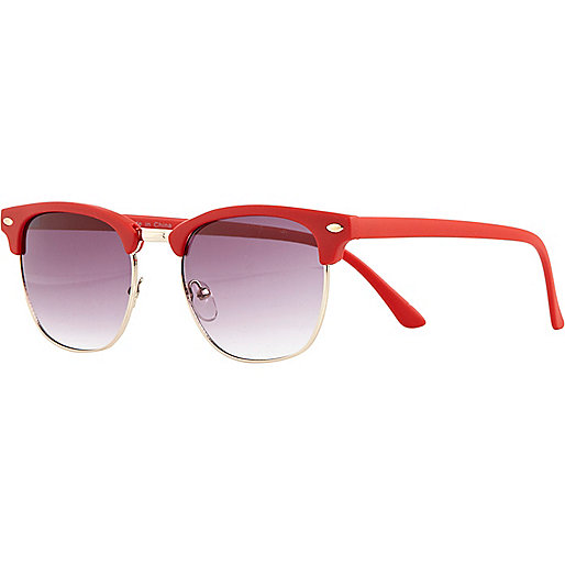 Bright red matte round retro sunglasses