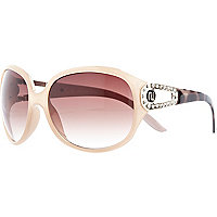 Cream oversized round sunglasses