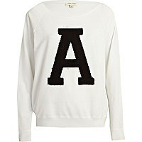 White A applique varsity sweatshirt