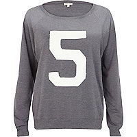 Grey 5 applique varsity sweatshirt