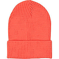 Coral knitted rib turn up beanie hat