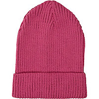 Pink ribbed knit beanie hat