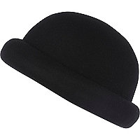 Black rolled brim bowler hat