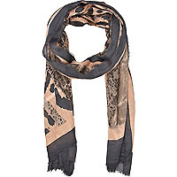 Grey and nude animal print lightweight scarf