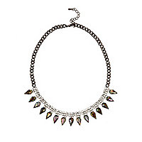 Silver tone diamante spike necklace