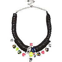 Black cord and chain statement necklace