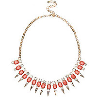 Coral gem stone spike short necklace