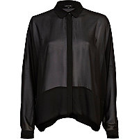 Black sheer contrast panel boxy shirt