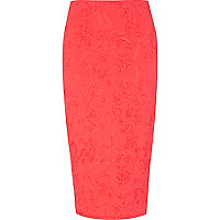 Bright coral embossed pattern pencil skirt