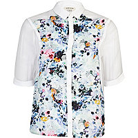 Blue floral print colour block boxy shirt