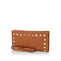 Brown leather zip around studded purse