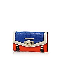 Blue colour block flip lock purse