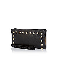 Black leather zip around studded purse