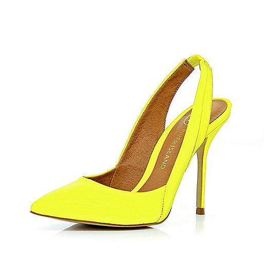 Lime green pointed sling back pumps