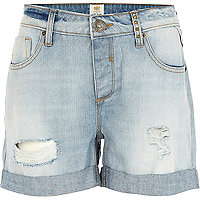 Light wash ripped denim boyfriend shorts