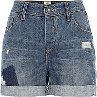 Mid wash patchwork denim boyfriend shorts