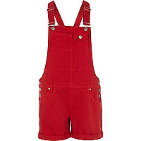 Bright red short denim dungarees