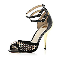 Black studded ankle strap stiletto sandals