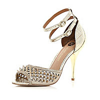 Gold studded ankle strap stiletto sandals