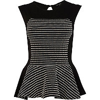 Black and white jacquard panel peplum top