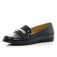 Navy patent metal plate loafers