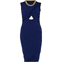 Blue cut-out wrapped necklace dress