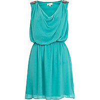 Turquoise embellished shoulder cowl dress