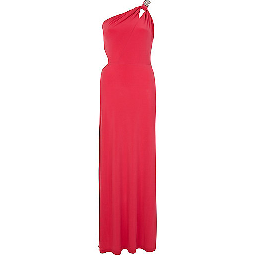 Pink one shoulder diamante maxi dress