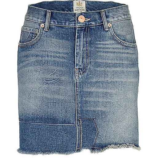 Mid wash patchwork denim mini skirt