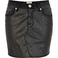 Black leather look front denim skirt