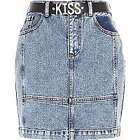 Light wash patchwork kiss denim skirt