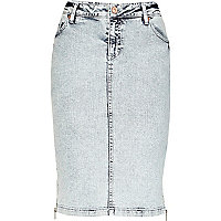Light acid wash denim pencil skirt