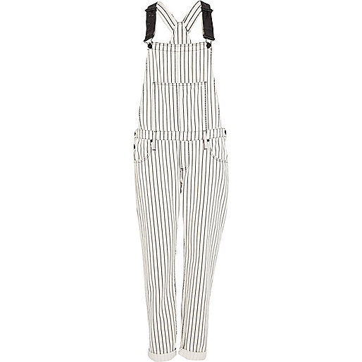 Black and white stripe denim dungarees