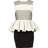 Cream Lola Loves peplum dress