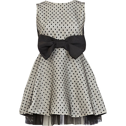 Cream Lola Loves polka dot bow prom dress