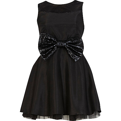 Black Lola Loves bow waist prom dress