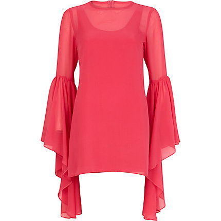 Pink Lola Loves drape sleeve shift dress