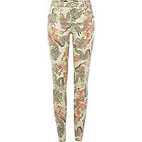 Beige dragon print Amelie superskinny jeans
