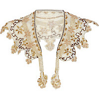 Cream bead embellished collar
