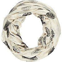 Cream spot print lightweight snood