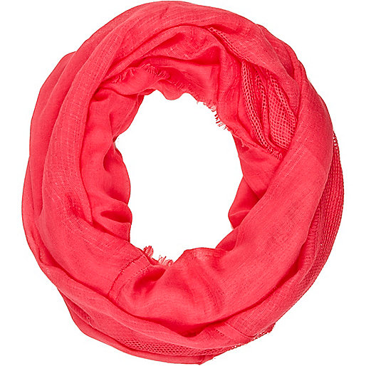 Coral gauze laddered snood